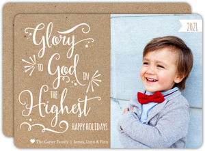 Religious Glory To God Typography Christmas Photo Card