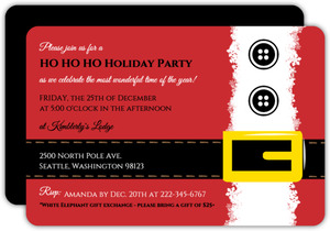Simple Red Santa Christmas Party Invitation