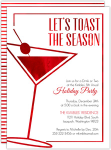Modern Faux Red Foil Martini Glass Holiday Party Invitation