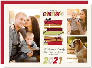 Warm Retro Geometric Gift Christmas Photo Card