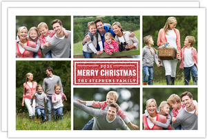 White Grid Faux Glitter Christmas Photo Card