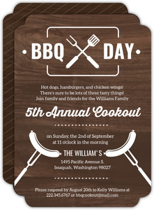 Modern Woodgrain BBQ Cookout Invitation