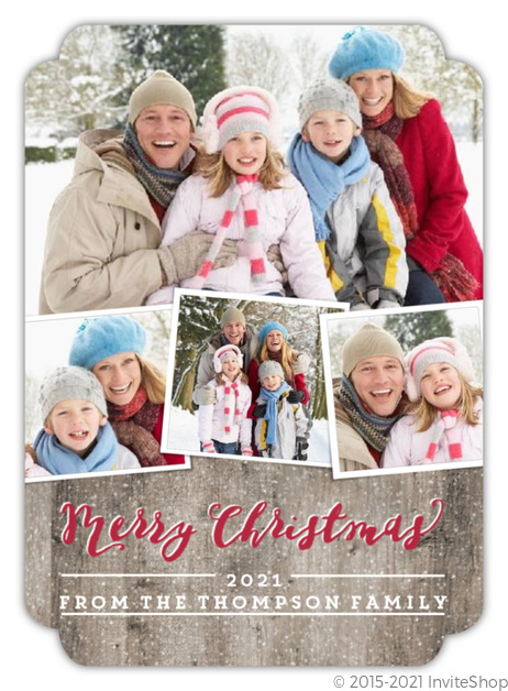 rustic woodgrain christmas photo collage card - Collage Christmas Cards