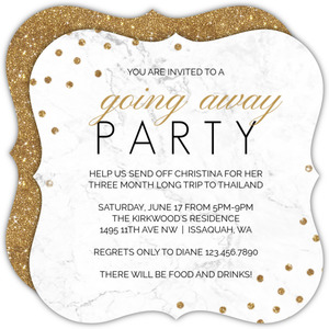 Glitter And White Marble Going Away Party Invitation