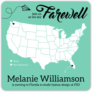 Farewell Map Going Away Party Invitation