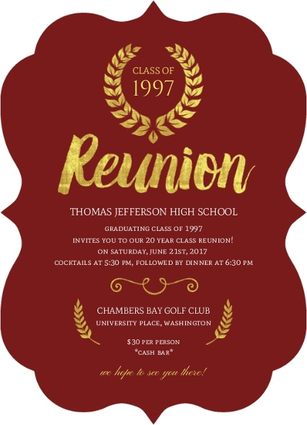 Cheap custom reunion invitations inviteshop classic maroon and gold reunion invitation stopboris Image collections