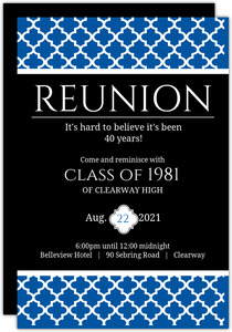 Bold Blue Reunion Invitation