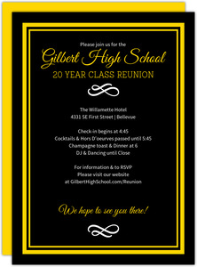 Black and Yellow Class Reunion Invitation