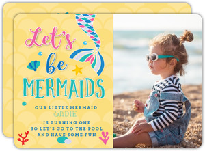 Let's Be Mermaids First Birthday Invitation
