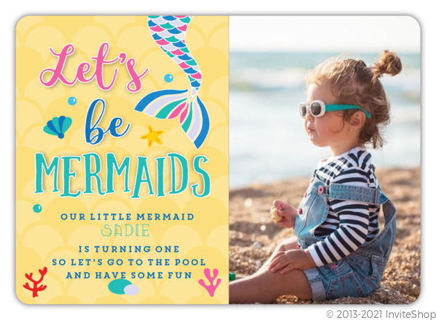 Lets Be Mermaids First Birthday Invitation