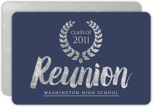 Silver & Blue School Reunion Invitation