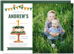 Greenery Cake First Birthday Invitation