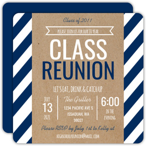 Modern Kraft Stripes Class Reunion Invitation