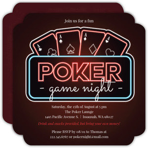 Glowing Light Poker Game Night Party Invitation