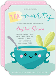 Cute Turquoise Tea Cup Birthday Invitation