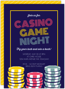 Retro Poker Game Night Invitation