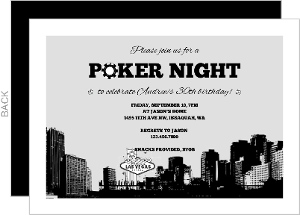 City Poker Night Casino Party Invitation