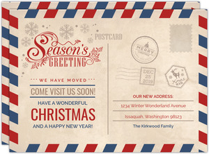 Seasons Greeting Postcard Holiday Moving Announcement