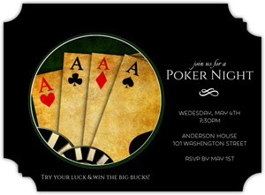 Black 4 of a Kind Poker Night Invitation
