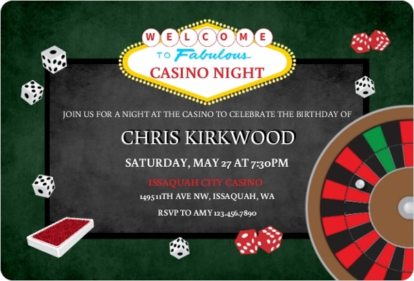 Rolling the Dice Casino Party Invitation | Poker Invitations