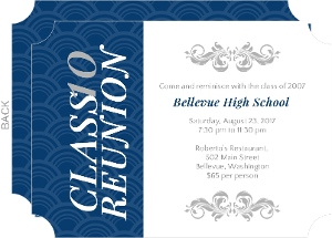 Cheap reunion invitations invite shop elegant blue and gray high school reunion invitation stopboris Image collections