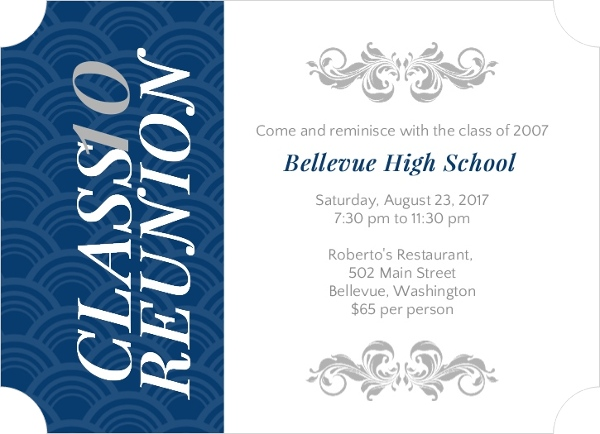 Elegant Blue And Gray High School Reunion Invitation Reunion