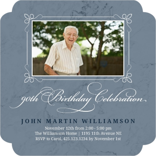 Marble Photo 90th Birthday Invitation