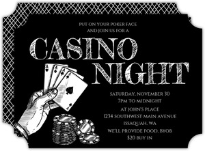 Sketched Black & White Poker Night Invitation
