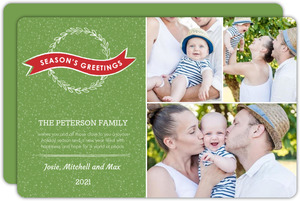Green Wreath Holiday Photo Card
