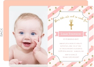 Waving Pink Banner 1st Birthday Invitations