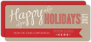 Red Banner Kraft Paper Business Holiday Card