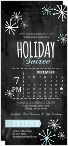 Winter Chalkboard Calendar Business Holiday Party Invitation