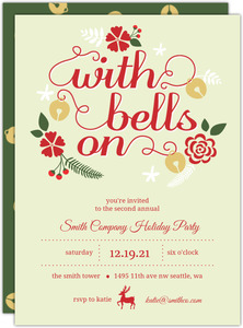 Bells and Flowers Business Holiday Party Invitation
