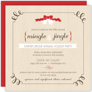 Woodgrain Red White Bells Business Holiday Invitation