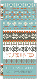 Light Blue Fair Isle Business Holiday Party Invitation