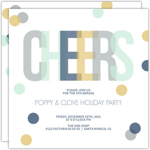 Blue and Gold Confetti Business Holiday Party Invitation