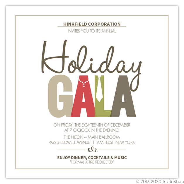 Dressy Gala Business Holiday Party Invitation Business Holiday