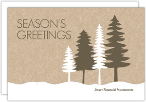 Brown and White Winter Forest Business Holiday Card