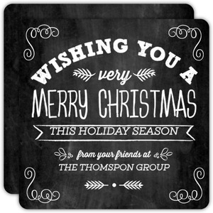 White Typographic Chalkboard Business Holiday Card