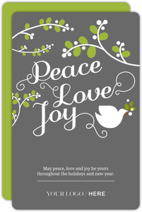 Gray Dove Mistletoe Business Holiday Card