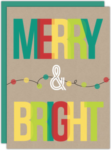 Kraft Paper and Multicolor Lights Business Holiday Card
