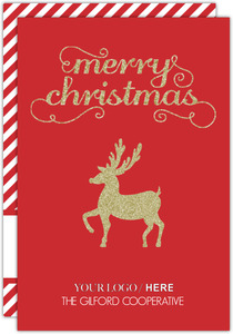 Red and Faux Gold Glitter Reindeer Business Holiday Card