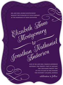 Elegant Royal Purple Wedding Invitation