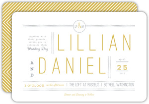 Delicate Gold Chevron Wedding Invitation