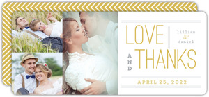 Delicate Gold Chevron Wedding Thank You Card