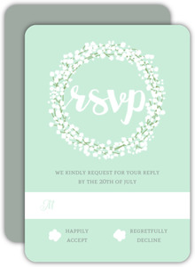 Whimsical Babys Breath Wedding Response Card