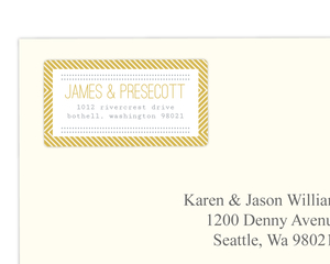 Delicate Gold Chevron Address Label