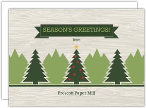 Pine Trees and Woodgrain Business Holiday Card