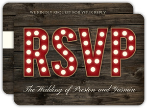 Rustic Marquee Letters Wedding Response Card