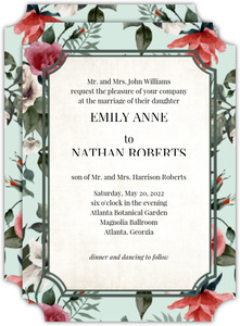 Beautiful Vintage Floral Wedding Inviation